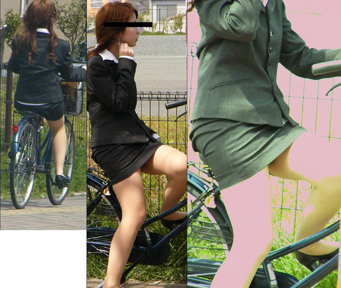 自転車ミニタイトスカートパンチラOLエロ画像7枚目