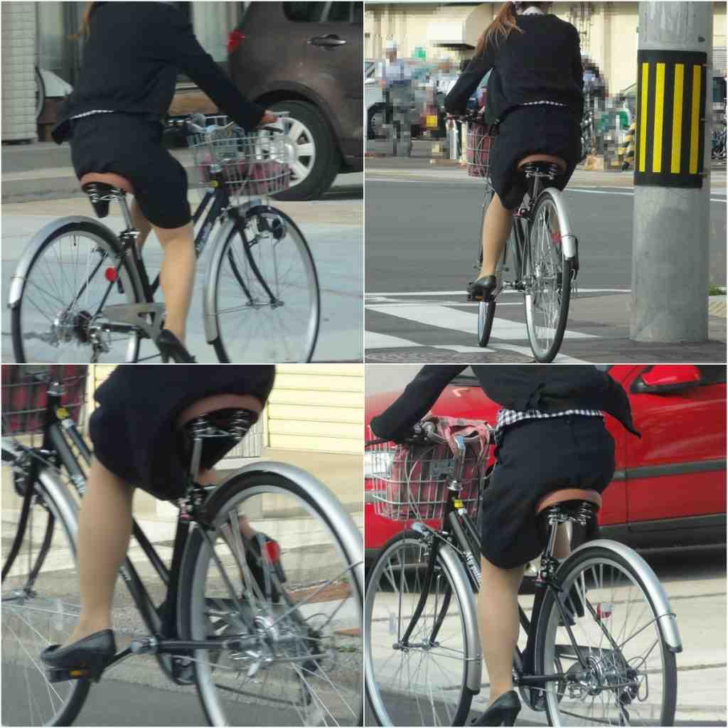 自転車ミニタイトスカートパンチラOLエロ画像12枚目