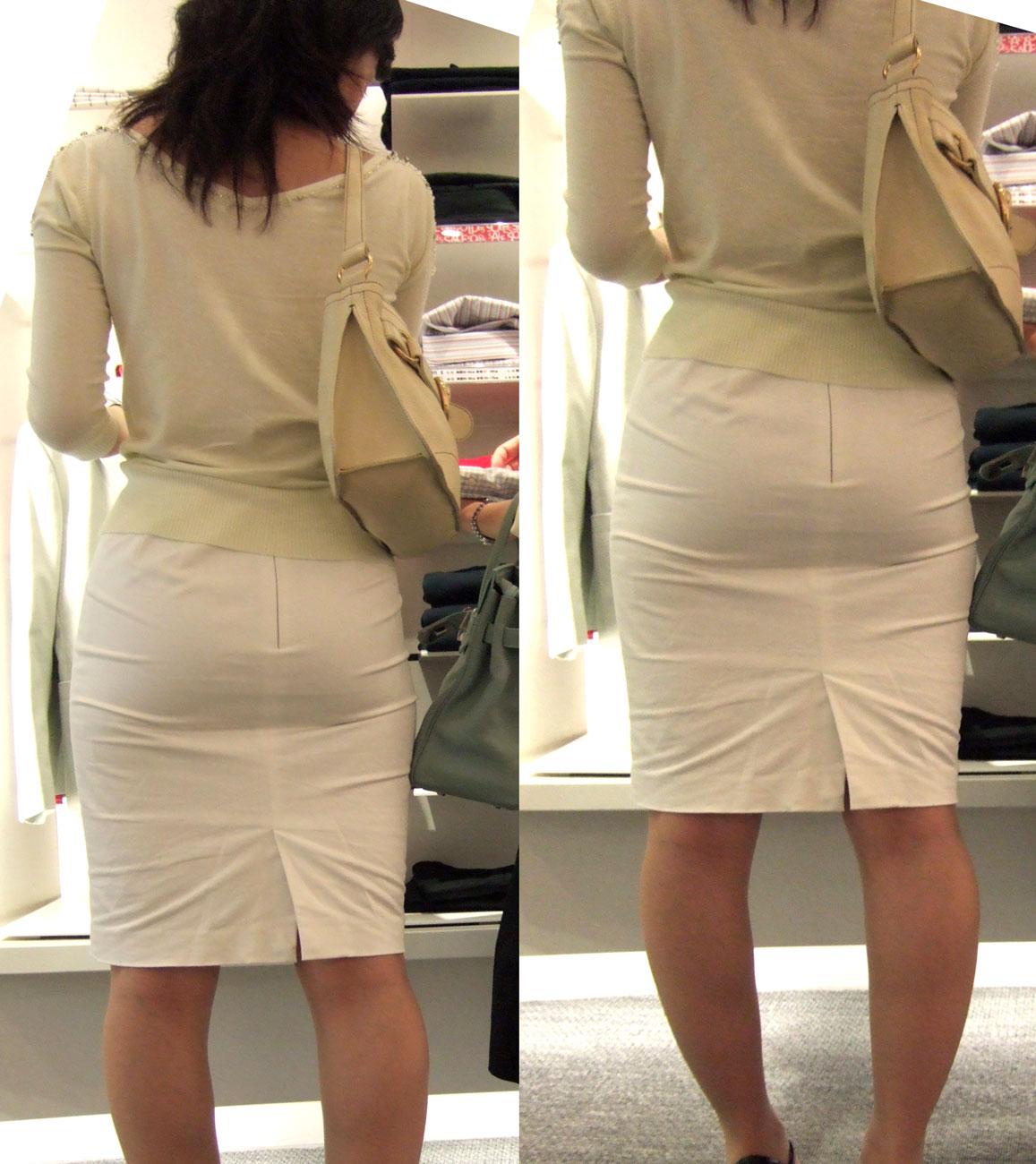 街撮り白タイトスカート美尻OL盗撮エロ画像3枚目