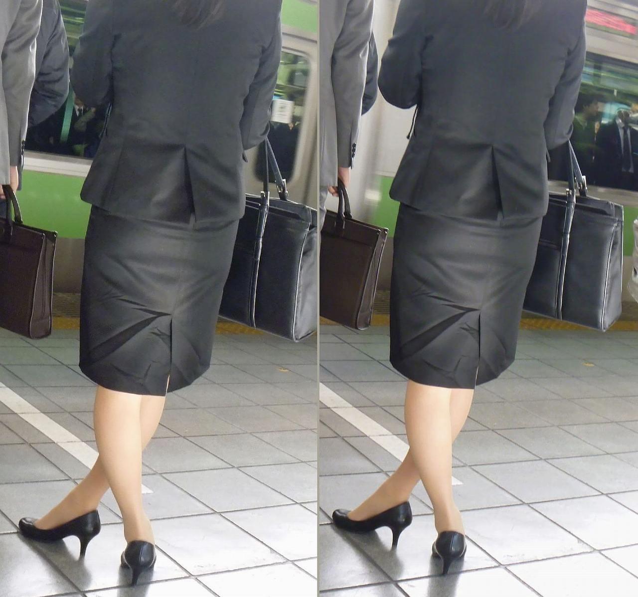 ベンツスリットにミニのタイトスカート巨尻OLエロ画像3枚目