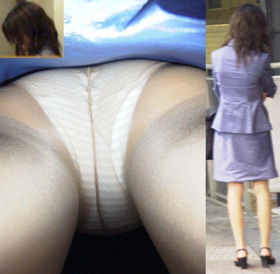 白サテン下着OLの逆さパンチラ盗撮エロ画像7枚目