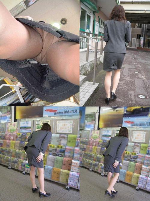 タイトスカートを逆さ撮りされた美脚OL5枚目