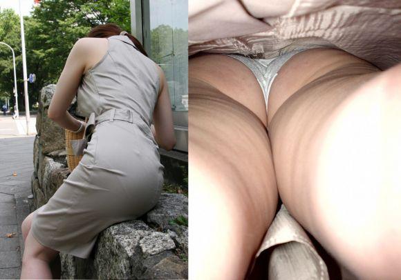 最高の眺めOLお姉さんのスカートを逆さ撮りパンモロエロ画像7枚目