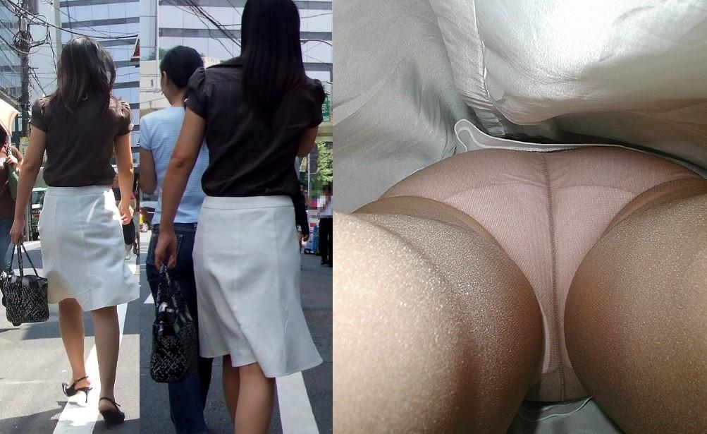 逆さ撮りOLスカートの中のパンストパンティ8枚目