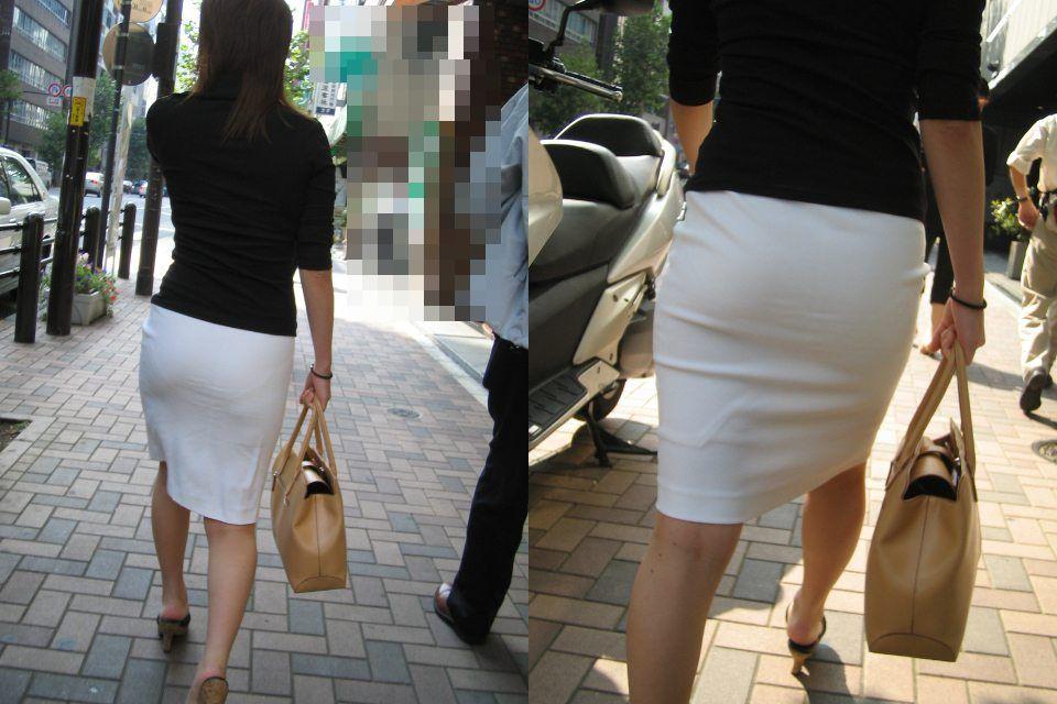白タイトスカートパンティ透けそうなプリ尻3枚目