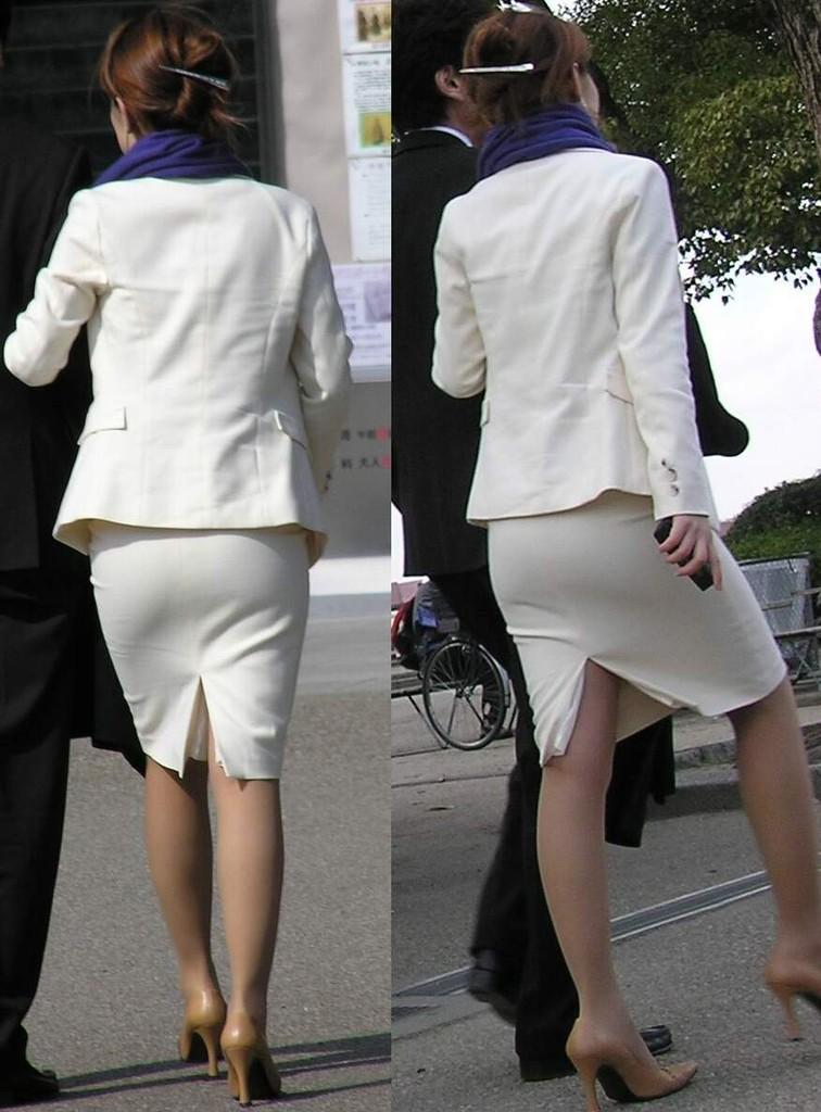 白タイトスカートパンティ透けそうなプリ尻9枚目