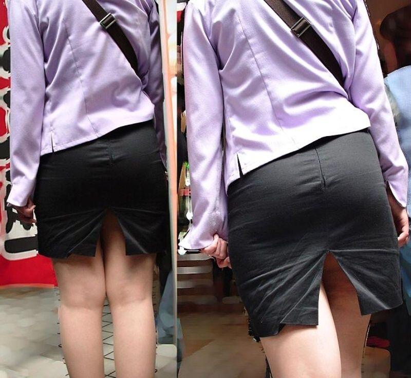 スリットもベンツもタイトスカート美脚OLエロ画像3枚目
