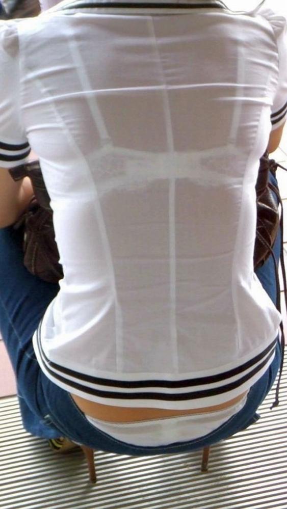 ブラジャー丸見えブラ透けブラウスとシャツ画像4枚目