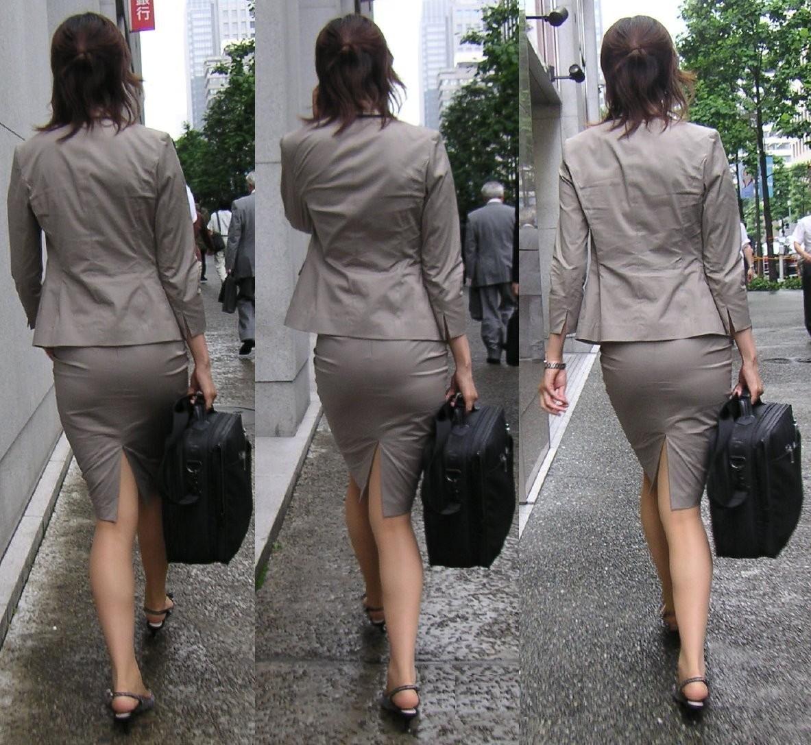 歩くタイトスカート尻OLお姉さんを街撮り盗撮のエロ画像4枚目