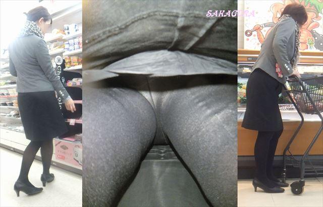買い物中OLの逆さ撮りパンストパンチラ盗撮画像10枚目