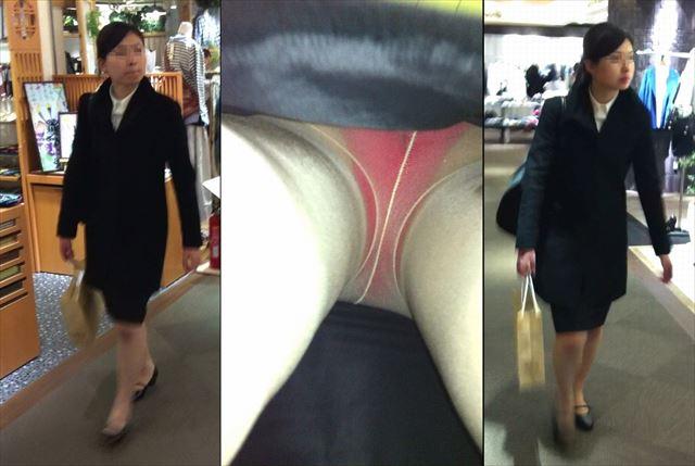 タイトスカート逆さ撮りパンチラまん毛盗撮OL画像7枚目