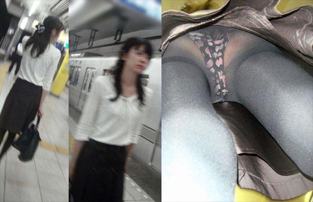 リクルートスーツ逆さ撮りパンチラOL盗撮画像11枚目