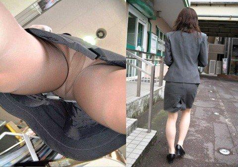 リクスーOLを靴カメで逆さ撮りパンチラ盗撮画像2枚目