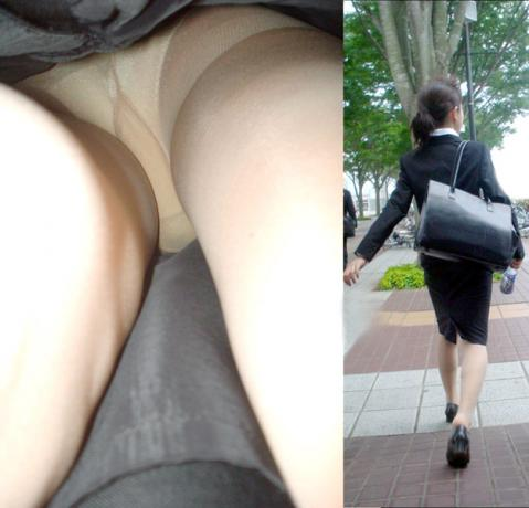 新人リクスーOLのタイトスカート逆さ撮り盗撮画像1枚目