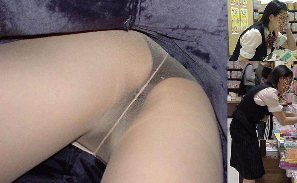 新人リクスーOLのタイトスカート逆さ撮り盗撮画像10枚目