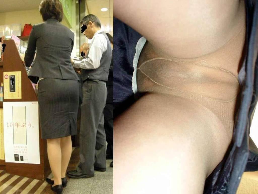 新人リクスーOLのタイトスカート逆さ撮り盗撮画像12枚目