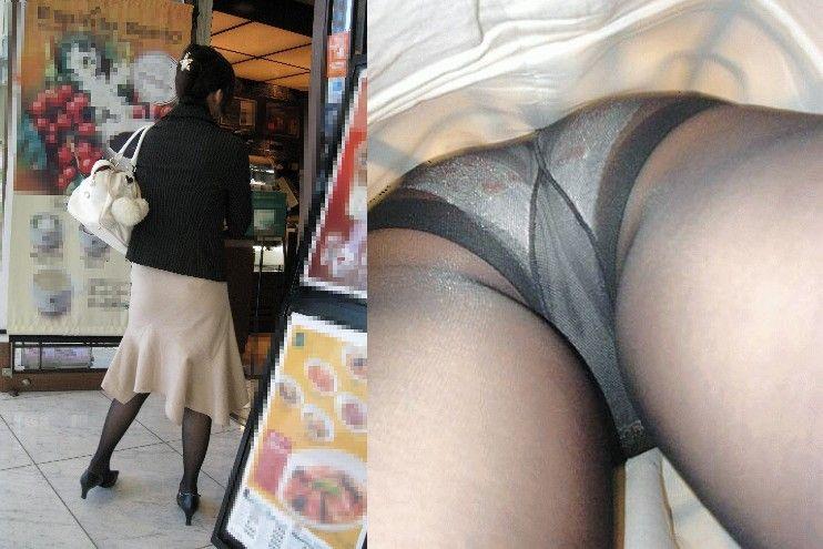新人リクスーOLのタイトスカート逆さ撮り盗撮画像14枚目