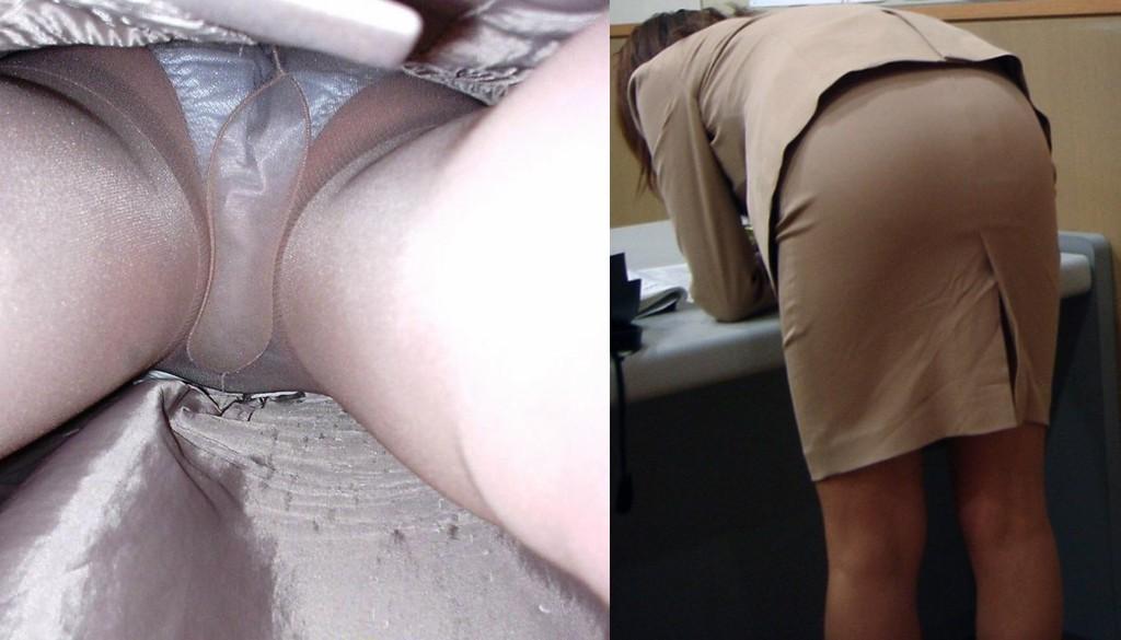 巨尻OLサテンタイトスカート逆さ撮り下着盗撮画像1枚目