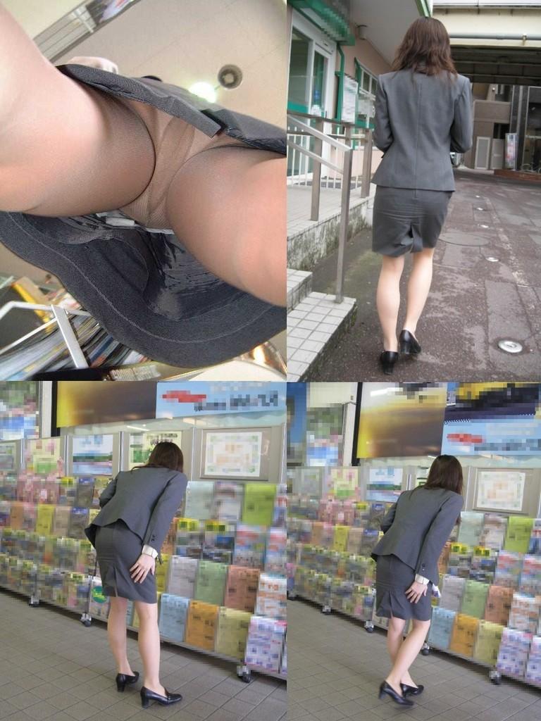 巨尻OLサテンタイトスカート逆さ撮り下着盗撮画像2枚目