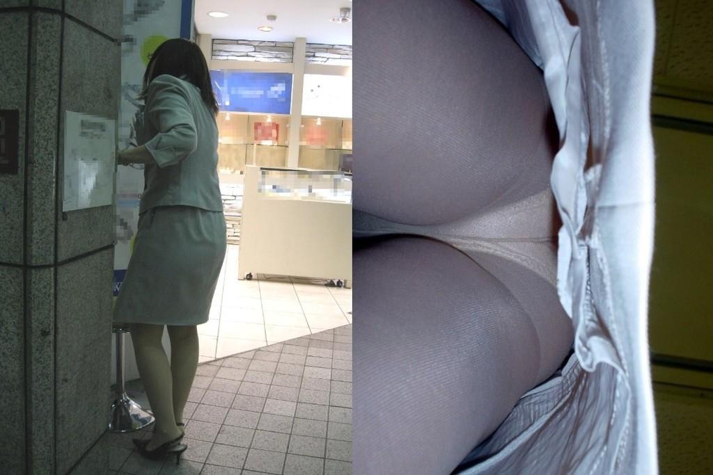 巨尻OLサテンタイトスカート逆さ撮り下着盗撮画像5枚目