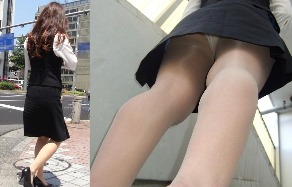 巨尻OLサテンタイトスカート逆さ撮り下着盗撮画像15枚目