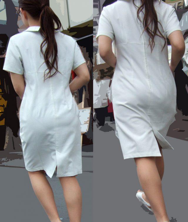 白衣ナースの透けパンティーライン街撮りエロ画像5枚目