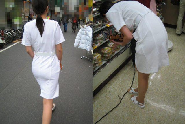 白衣ナースの透けパンティーライン街撮りエロ画像13枚目