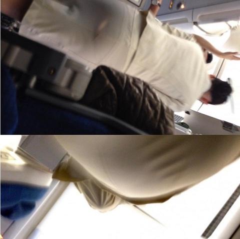 素人CAのタイトスカート三角パンチラ盗撮エロ画像3枚目