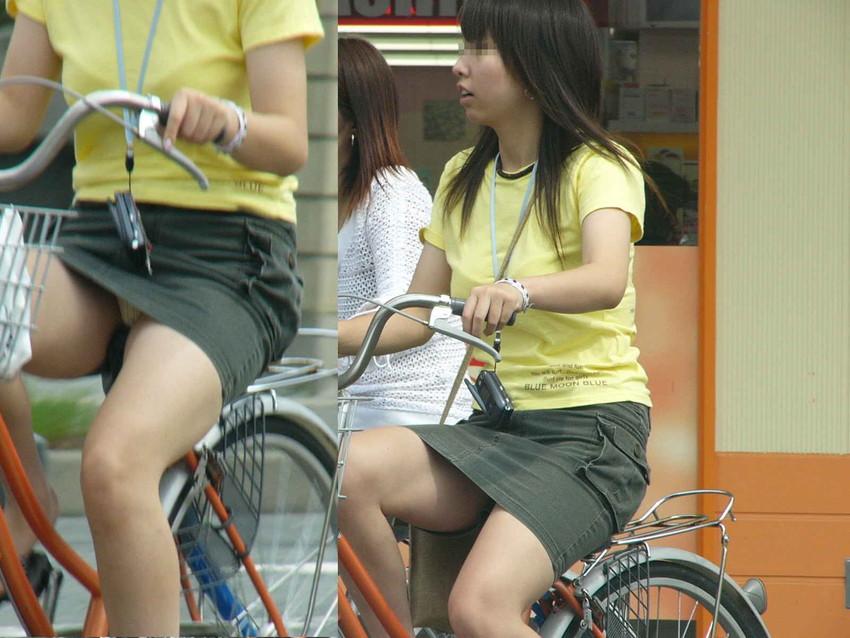 新人OLの自転車開脚の大胆三角パンチラ盗撮エロ画像6枚目