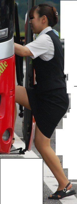 素人バスガイドの黒パンスト姿が淫らな盗撮エロ画像5枚目