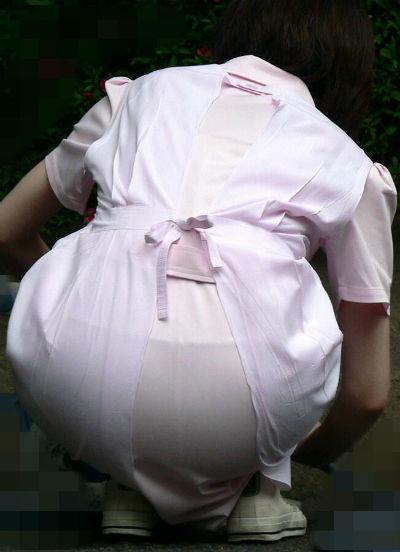 白衣ナースのモロ透けしのパンティラインエロ画像15枚目