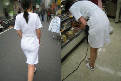 白衣の熟女ナースの透けパンティライン盗撮エロ画像5枚目