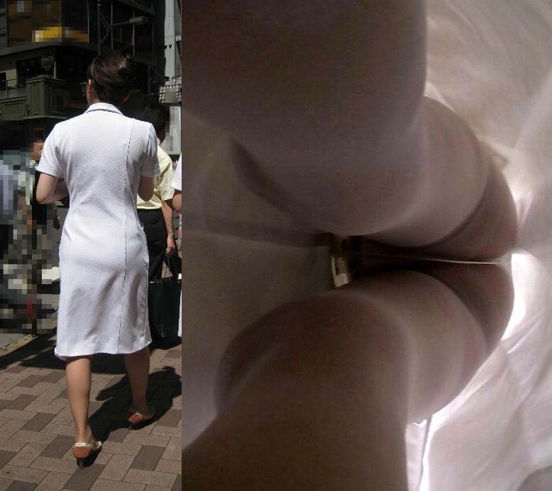 白衣ナースのまんすじまで透けてる逆さ盗撮エロ画像4枚目