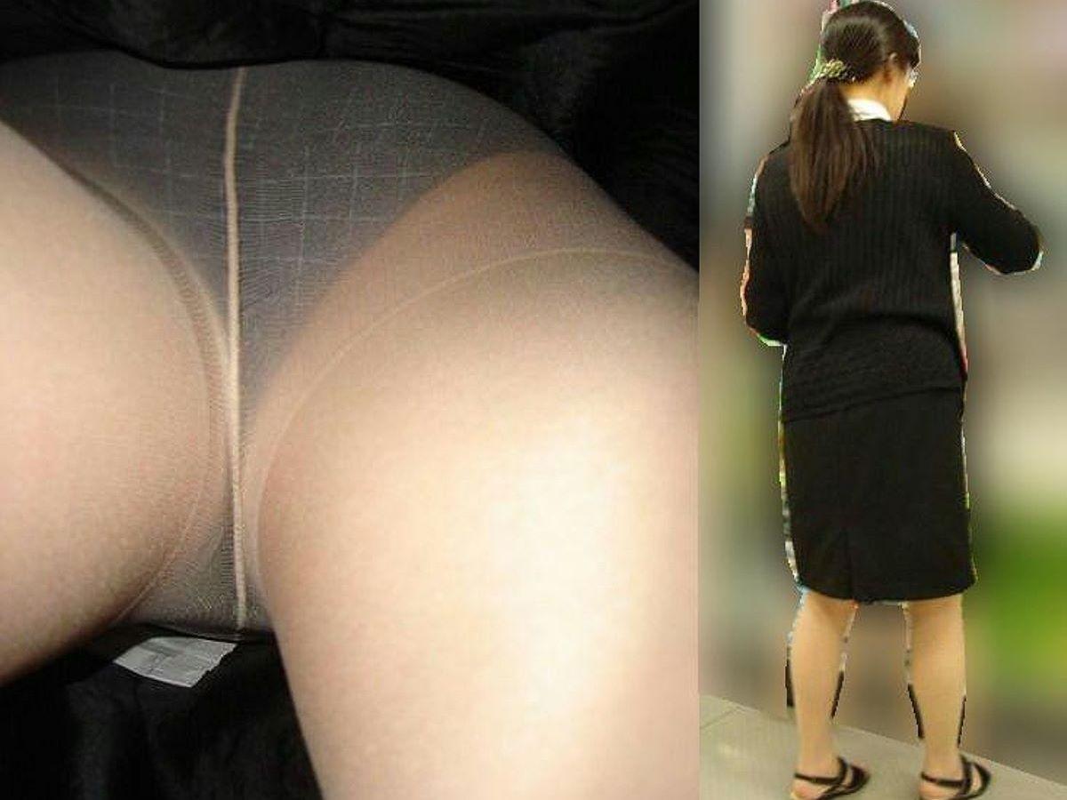 OLのタイトスカート内の生理下着逆さ盗撮エロ画像9枚目