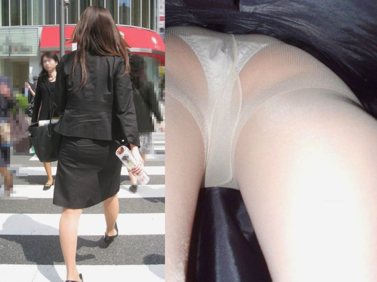 OLのタイトスカート内の生理下着逆さ盗撮エロ画像10枚目