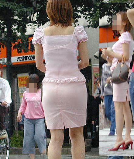 OLのピンクでまとめた透けブラジャー盗撮エロ画像1枚目