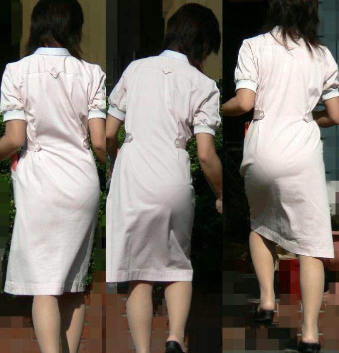 白衣ナースが患者を誘惑する透け巨尻盗撮エロ画像5枚目