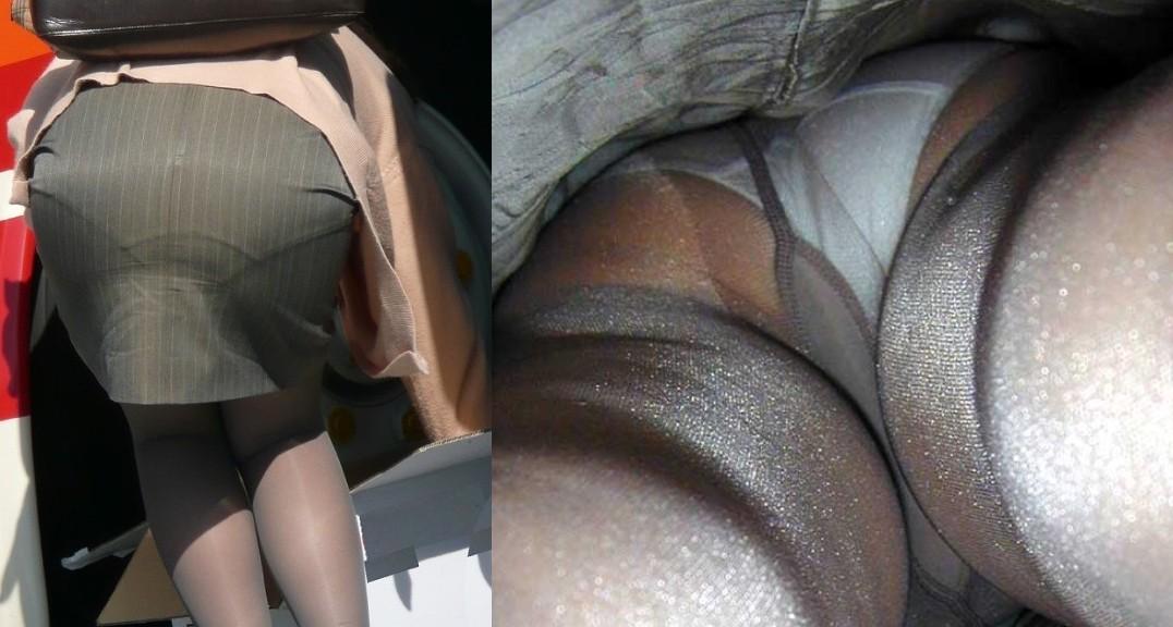 OLのパンスト越し下着が魅惑の逆さ盗撮エロ画像3枚目