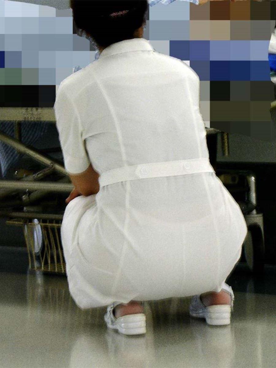 白衣ナースの欲求不満的な透け下着盗撮エロ画像8枚目