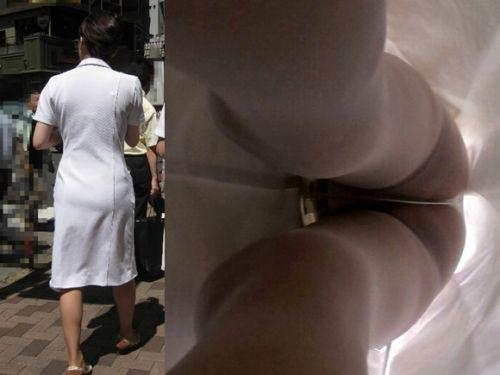 白衣ナースの逆さ撮りの透け感漂う盗撮エロ画像5枚目