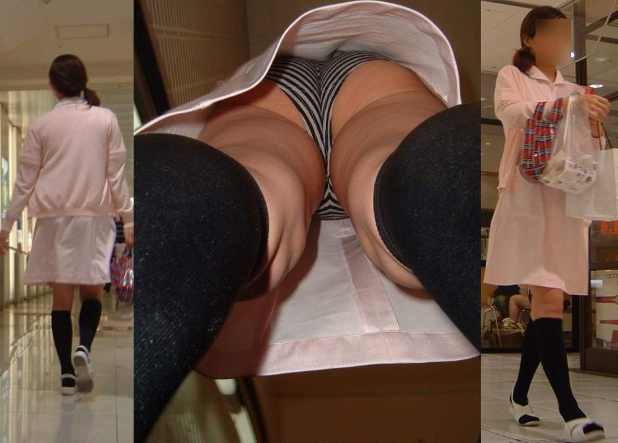 白衣ナースのフルバックパンティライン透けエロ画像15枚目