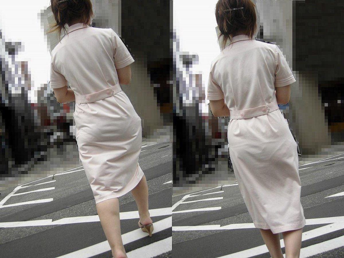 白衣ナースの透け水玉下着を盗撮したエロ画像9枚目