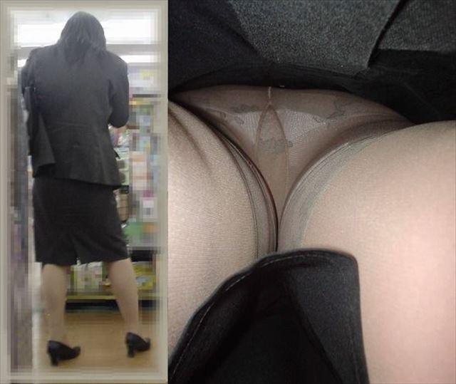 新人OLの清楚なタイトスカート逆さ盗撮エロ画像2枚目