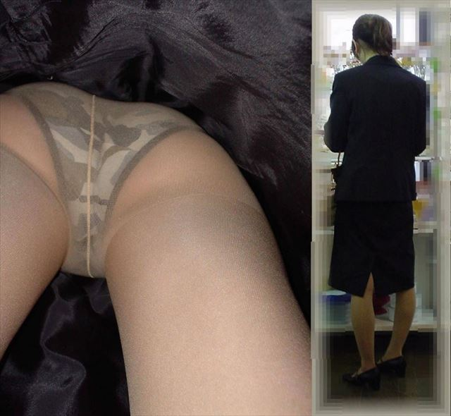 新人OLの清楚なタイトスカート逆さ盗撮エロ画像5枚目