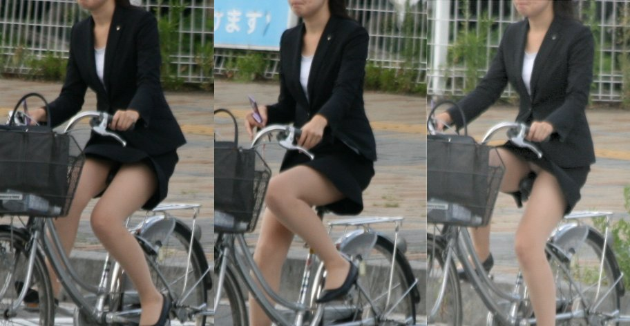 OLが膝を立てた自転車三角パンチラ盗撮エロ画像9枚目