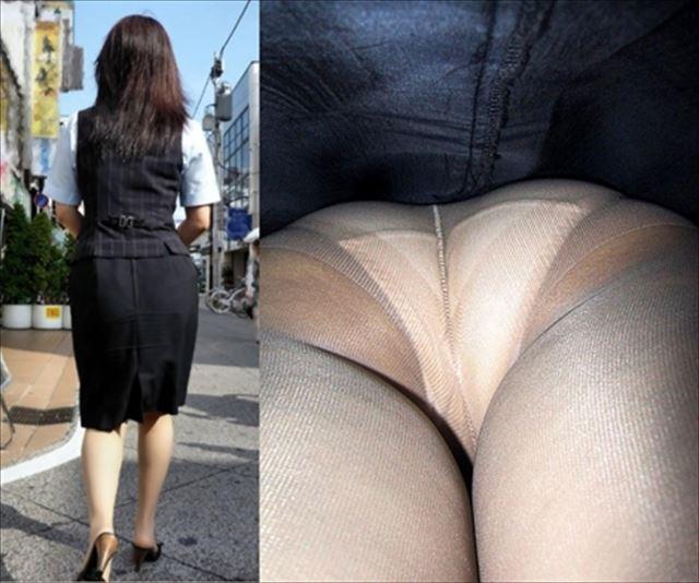 OLのタイトスカートしましまパンツ逆さ盗撮エロ画像5枚目