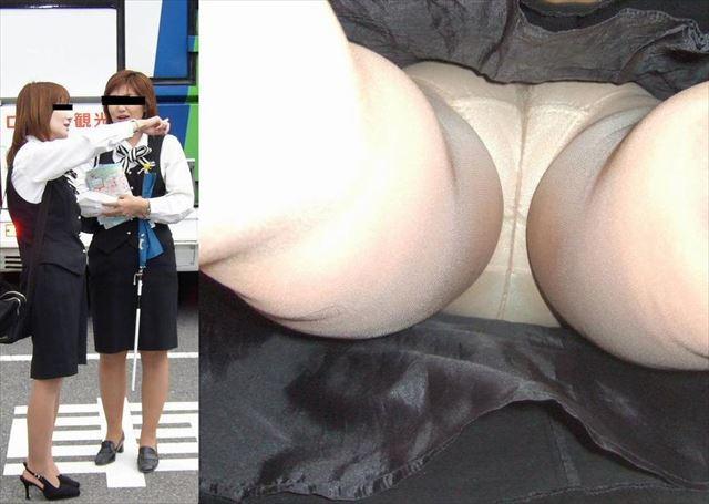 OLのタイトスカートしましまパンツ逆さ盗撮エロ画像13枚目