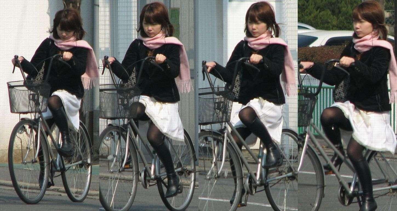 美脚OLの自転車ギリギリ三角パンチラ盗撮エロ画像8枚目