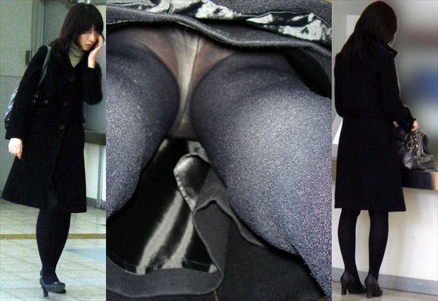 美人OLの黒スト逆さタイトスカート盗撮エロ画像1枚目