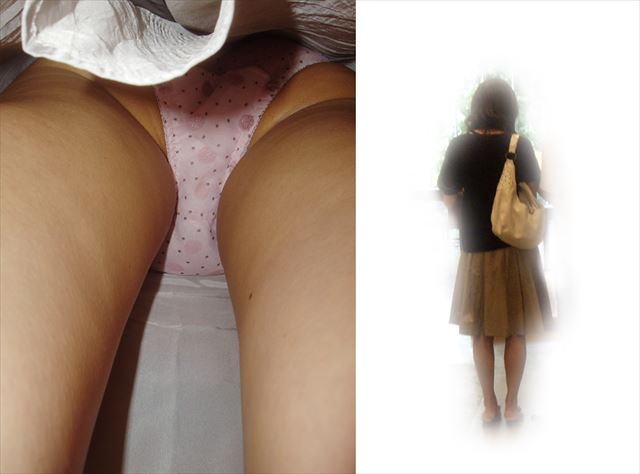 私服の若いOL達の油断した逆さ撮りパンチラ盗撮エロ画像13枚目